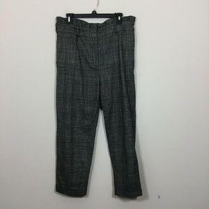 Topshop Size 12 Black Plaid Ankle Pants